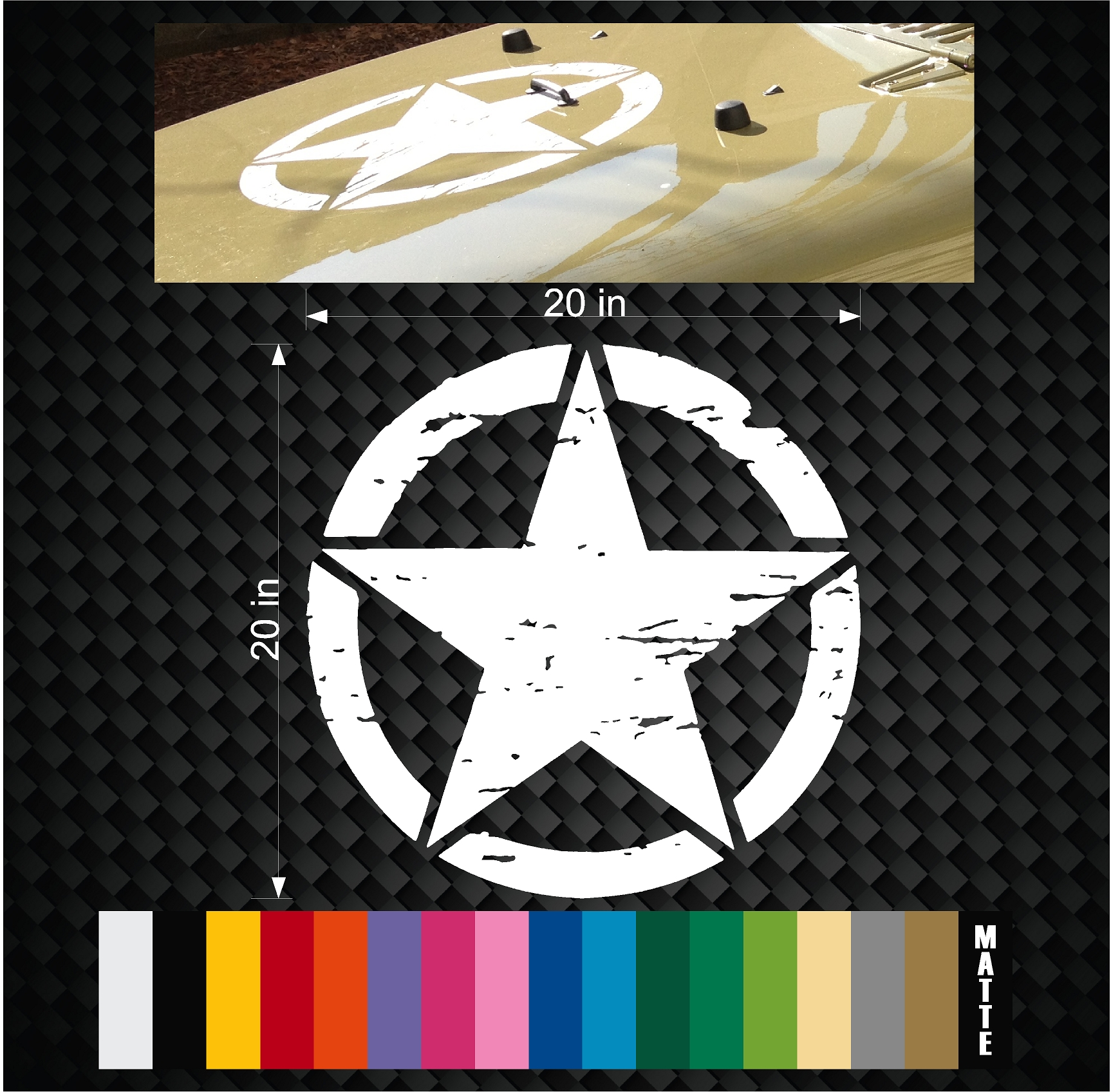 Military Jeep Wrangler Distressed Star Hood decal 20″ TJ JK Rubicon Oscar  Mike